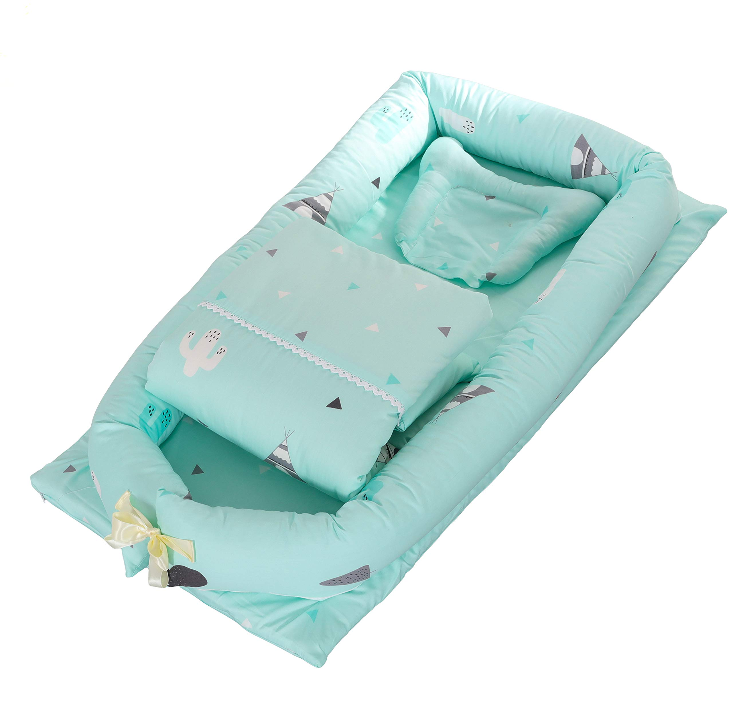 DOLDOA Baby Bassinet for Bed Portable Baby Lounger for Newborn,100% Cotton Newborn Portable Crib,Breathable and Hypoallergenic Sleep Nest Newborn Lounger Pillow for Bedroom/Travel (Cactus - Green)