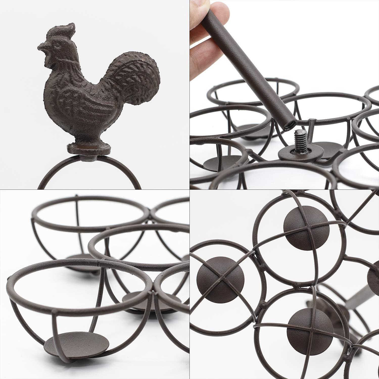 estante de metal de bronce de granja Cesta de huevos r/ústica para recolectar huevos frescos organizador de 12 huevos para encimera de cocina