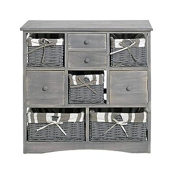 Rebecca Mobili Armario de cocina estilo country, mueble para el baño shabby con 4 cajones y 5 cestas, madera- Medidas: 73 x 73 x 32 cm (AxANxF) - ...