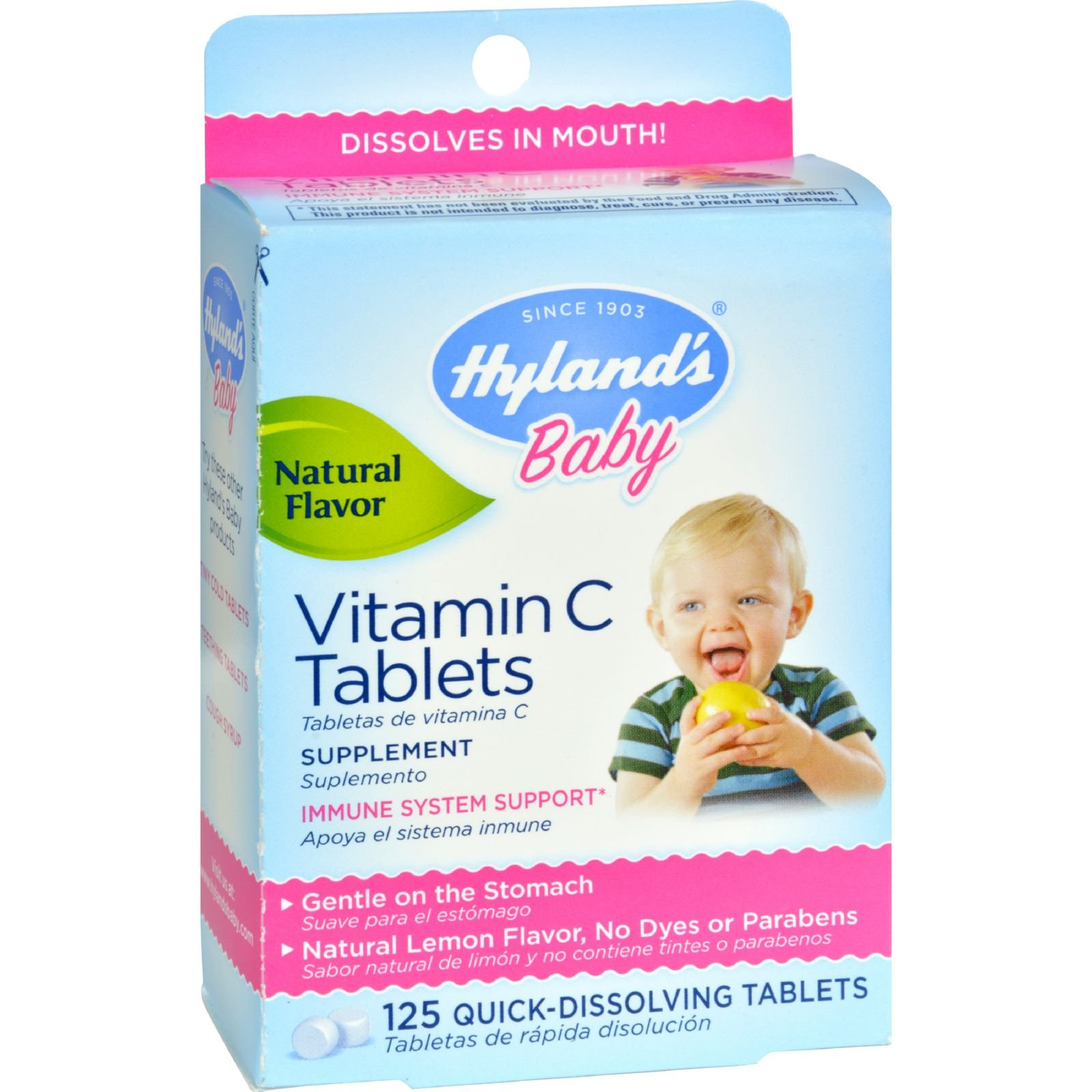Hyland's Natural Lemon Flavored Vitamin C Tablets for Children - 25 mg - 125 Tablets - 100% Natural - Soft Tablets Dissolve Instantly
