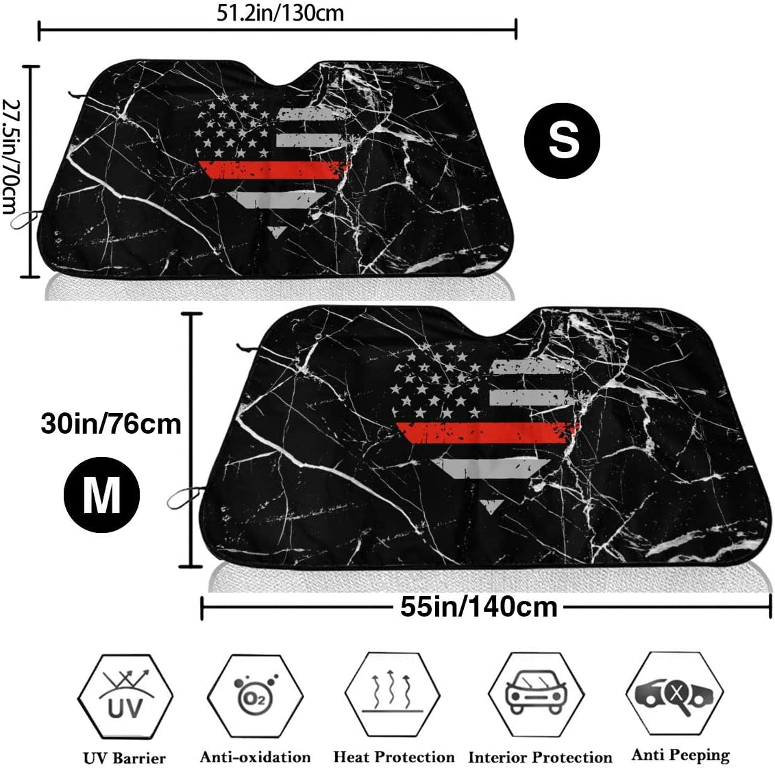 BAG9S-G1 Thin Red Line Heart Flag Firefighter Wife Front Car Sunshade Windshield Foldable Sunshade for Car SUV Trucks Minivans Sunshades Keeps Vehicle Cool