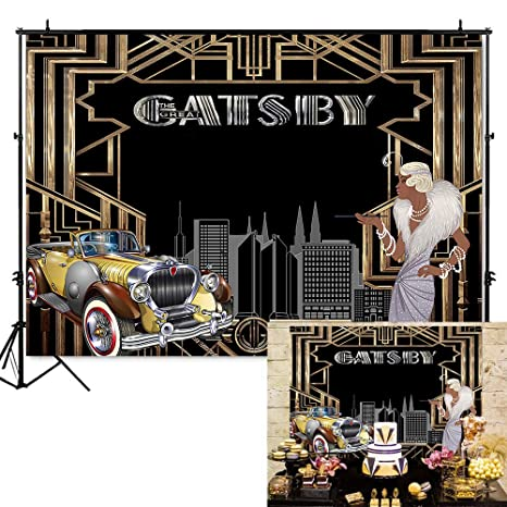 Mehofoto The Great Gatsby Backdrop 1920's Retro Flapper Girl Photography  Background 7x5ft Vinyl Gatsby Theme Party Banner Backdrops