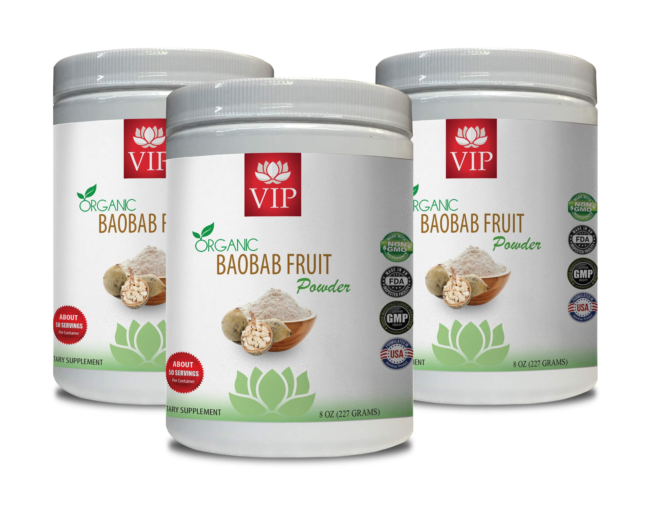 Immune System Support - Baobab Fruit Organic Powder - Digestive Weight Loss - 3 Cans 24 OZ (150 Servings)