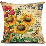"FreshZone Vintage Square Home Decorative Throw Pillow Case Cushion Cover 18 ""X18"" (Vintage Sunflower)"