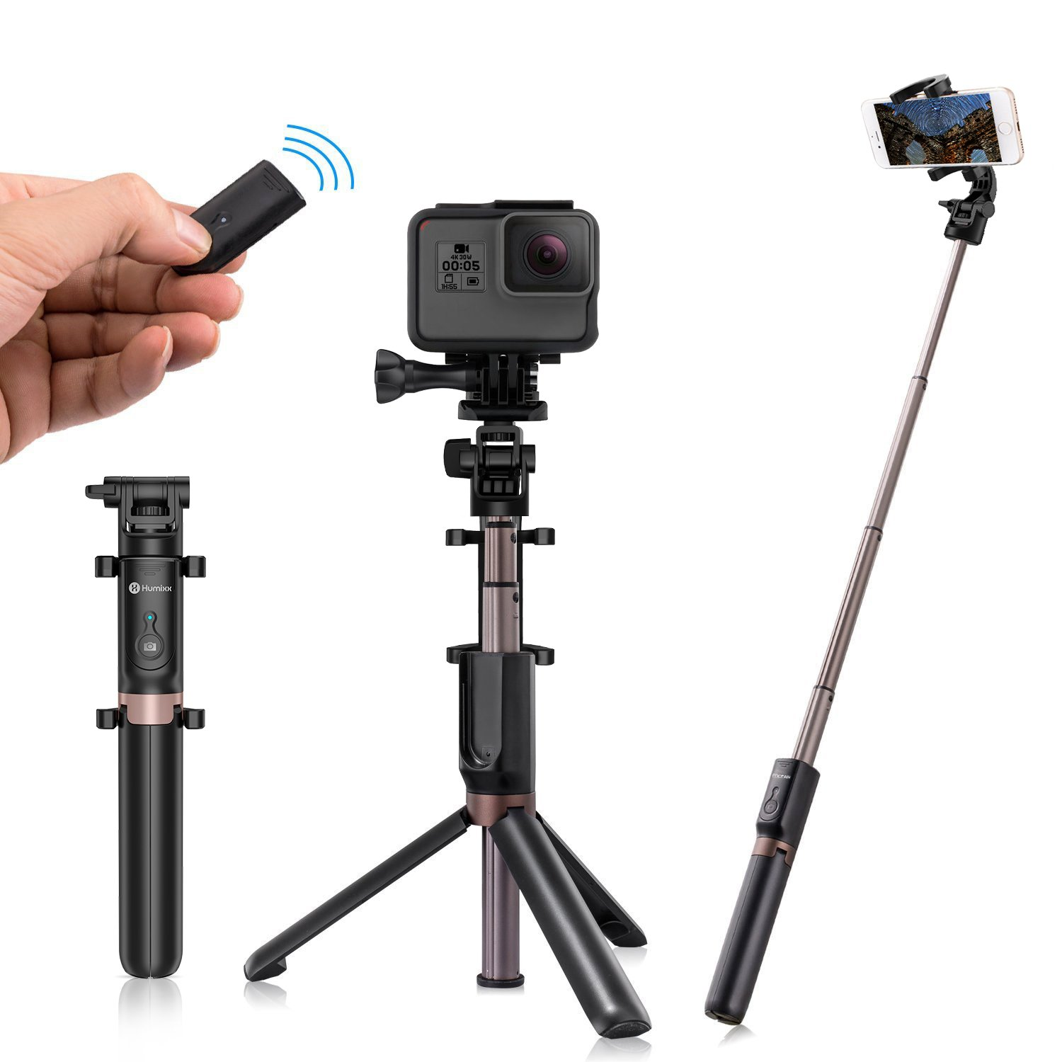 Humixx 2-in-1 Selfie Stick Wireless Remote Controlled Tripod Widely Compatible with IOS/Android Smartphones, Go Pro and More Action Cameras, Best Partner for Podcast/Selfie Live and Facetime