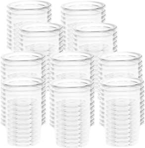 Fuongee Small Gecko Food and Water Cups Plastic Feeder Cups, 100 Pack Feeding Bowls for Gecko Lizard and Other Small Pet, Capacity 1 oz