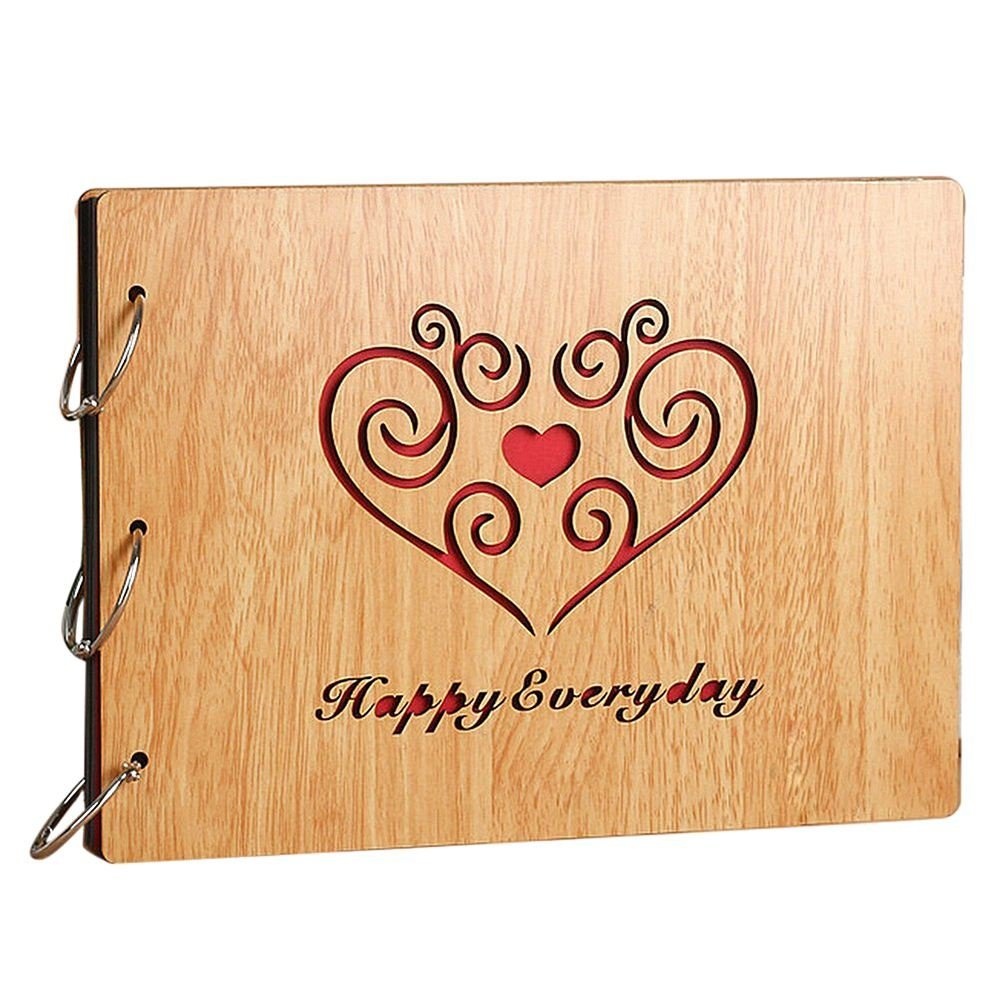 TOOGOO(R) Photo Album DIY 8 X 10 inch Self-adhesive Black Pages Scrapbooking Hollow Wood Cover Anniversary 3-Ring Binder Scrapbook (Happy Everyday)