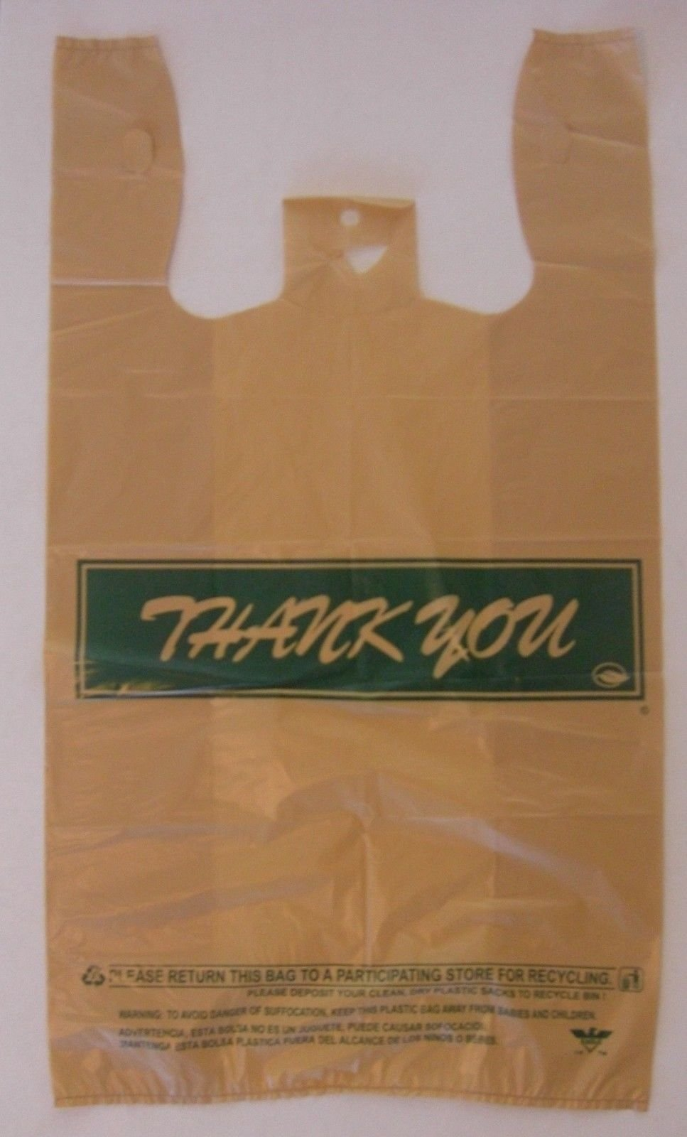 Grocery and Retail T-Shirt Shopping Bag 1/6 Size Buff Thank You 18 Mic
