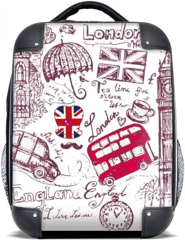DIYthinker Bandera Big Ben autobús Inglaterra dibujo Ilustración del estuche rígido de transporte para hombro Niños Mochila 15