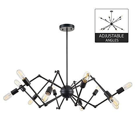 Light society arachnid 12 light chandelier pendant matte black mid light society arachnid 12 light chandelier pendant matte black mid century modern industrial aloadofball Choice Image