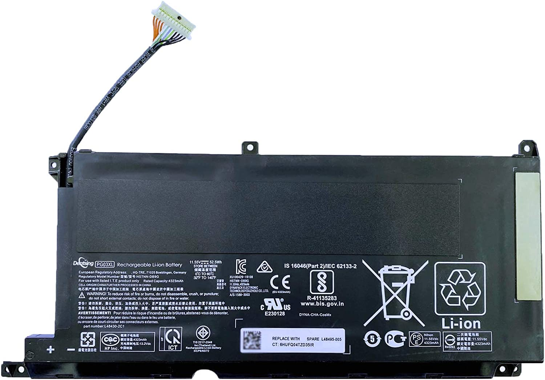 Dentsing PG03XL 11.55V 52.5Wh/4323mAh HSTNN-DB9G Laptop Battery Compatible with HP Pavilion Gaming 15-DK Series 15-DK0125TX FPC52 Notebook HSTNN-OB1I L48495-005