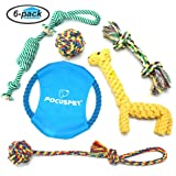 Focuspet Dog Rope Toys, Puppy Toys Set Pet Braided Rope Toys Puppy Chew Durable Interactive Cotton Toys Dental Health Teeth Cleaning for Small/Medium/Large sized Dog Biting Toys 6 Pack