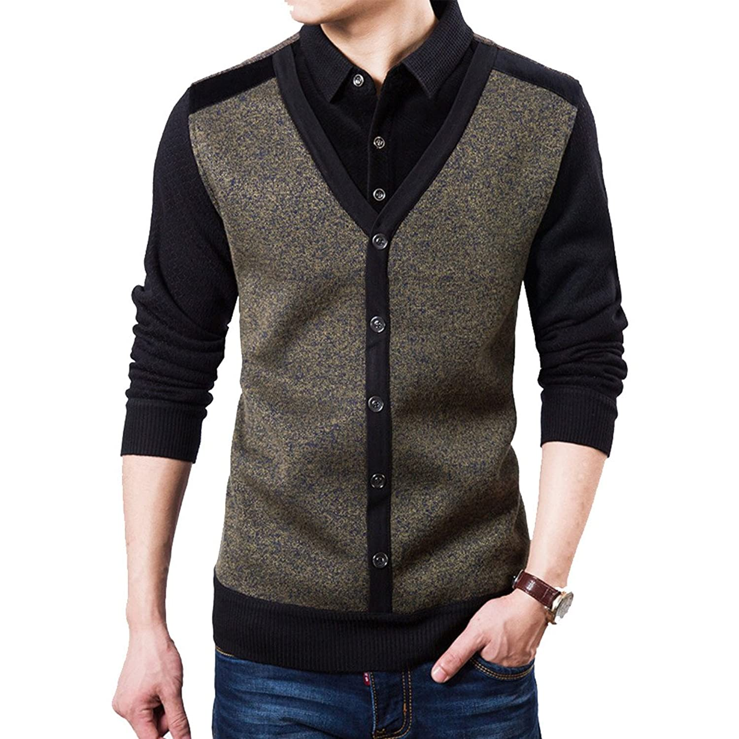 HCTOO Men's Knitted Thick Warm Woolen Cardigan Sweater with velvet