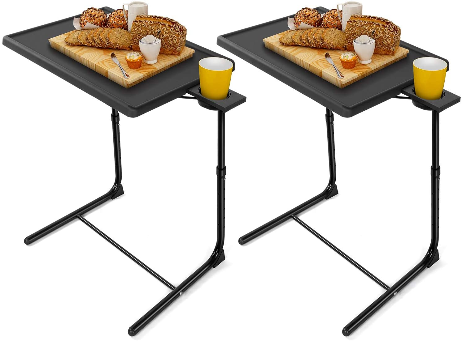 LORYERGO TV Tray Table - Adjustable TV Dinner Tray Tables with 6 Height & 3 Tilt Angle, Folding TV Trays with Cup Holder for Bed & Sofa, Multifunctional TV Table Tray for Eating & Reading(2 Pack)