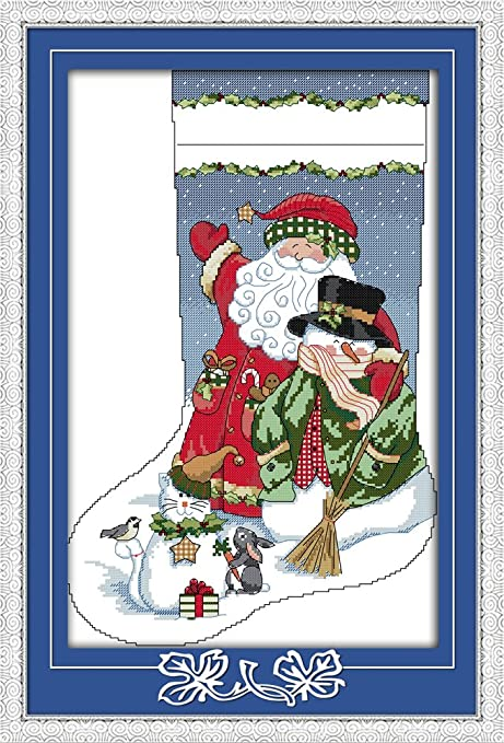 Amazon Com Captaincrafts New Cross Stitch Kits Patterns Embroidery Kit Christmas Stockings Santa Claus With Snowman Stamped