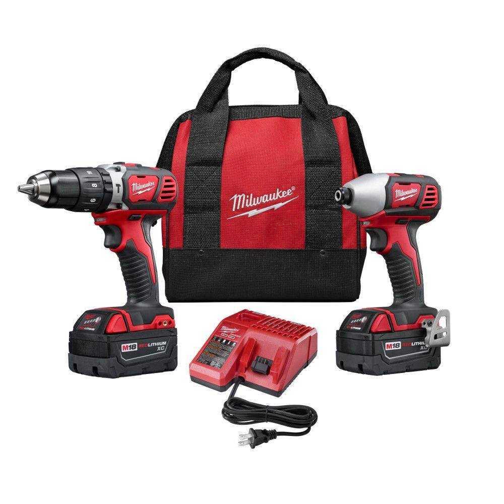 Milwaukee 2697-22 M18 18-Volt Lithium-Ion Cordless Hammer Drill Impact Driver XC Combo Kit 2-Tool