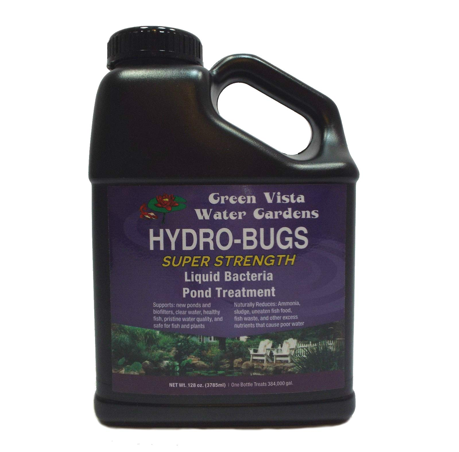 Green Vista Hydro-Bugs Liquid Beneficial Bacteria - Super Strength - 128 Ounces - Natural Probiotic Algae Control Reduces Sludge, Fish Waste, Uneaten Food - Improves Water Quality, Clarity - Fish Safe by Green Vista Water Gardens