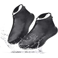 TERSELY Waterproof Shoe Covers Rain boots, Outdoor Rainproof Silicone Shoe Cover, Reusable Stretch Non Slip Foldable Galoshes Black White - Suitable for Men Women Use on Rainy Snowy Days