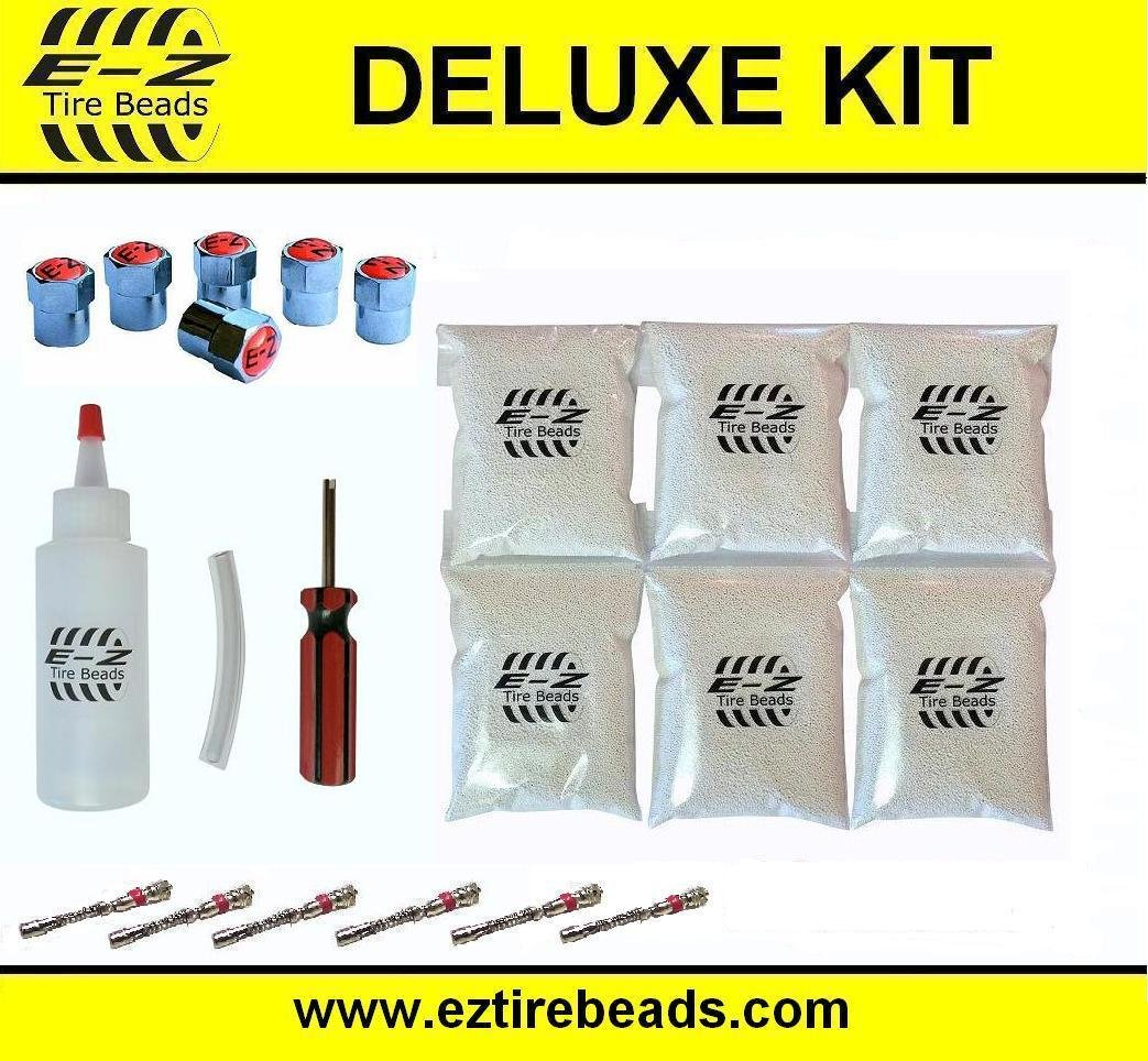 E-Z Tire Balance Beads Deluxe Kit Dually Truck 8 oz Six-Pack (6 bags of 8 oz Balancing Beads) 48 Ounces Total, Applicator Kit, Filtered Valve Cores, Red Caps E-Z Tire Beads TBDK8-6