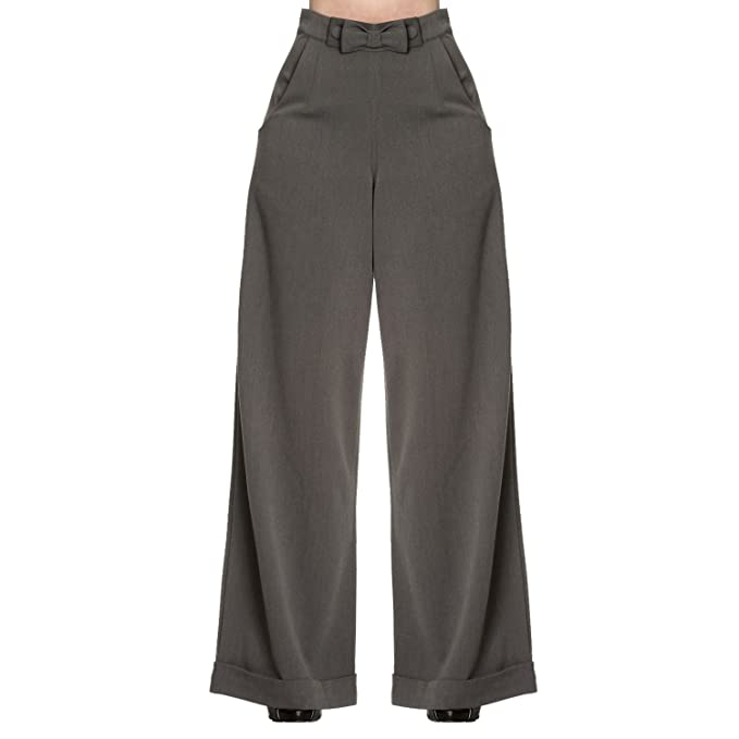 b57e76dbcf93c Womens 1940s Style Retro Vintage Swing Trousers Wide Leg High Waist Slacks  Excellent Quality  Amazon.co.uk  Clothing
