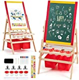 Costzon 3 in 1 Kids Art Easel, Double Sided Adjustable Chalkboard & White Dry Erase with Paper Roll, 4 Drawing Board Clips, 26 English Alphabet Tiles, Marker Pen and Other Accessories for Toddler(Red)