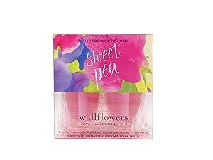 Bath Body Works Sweet Pea Wallflowers Home Fragrance Refills 2 Bulbs