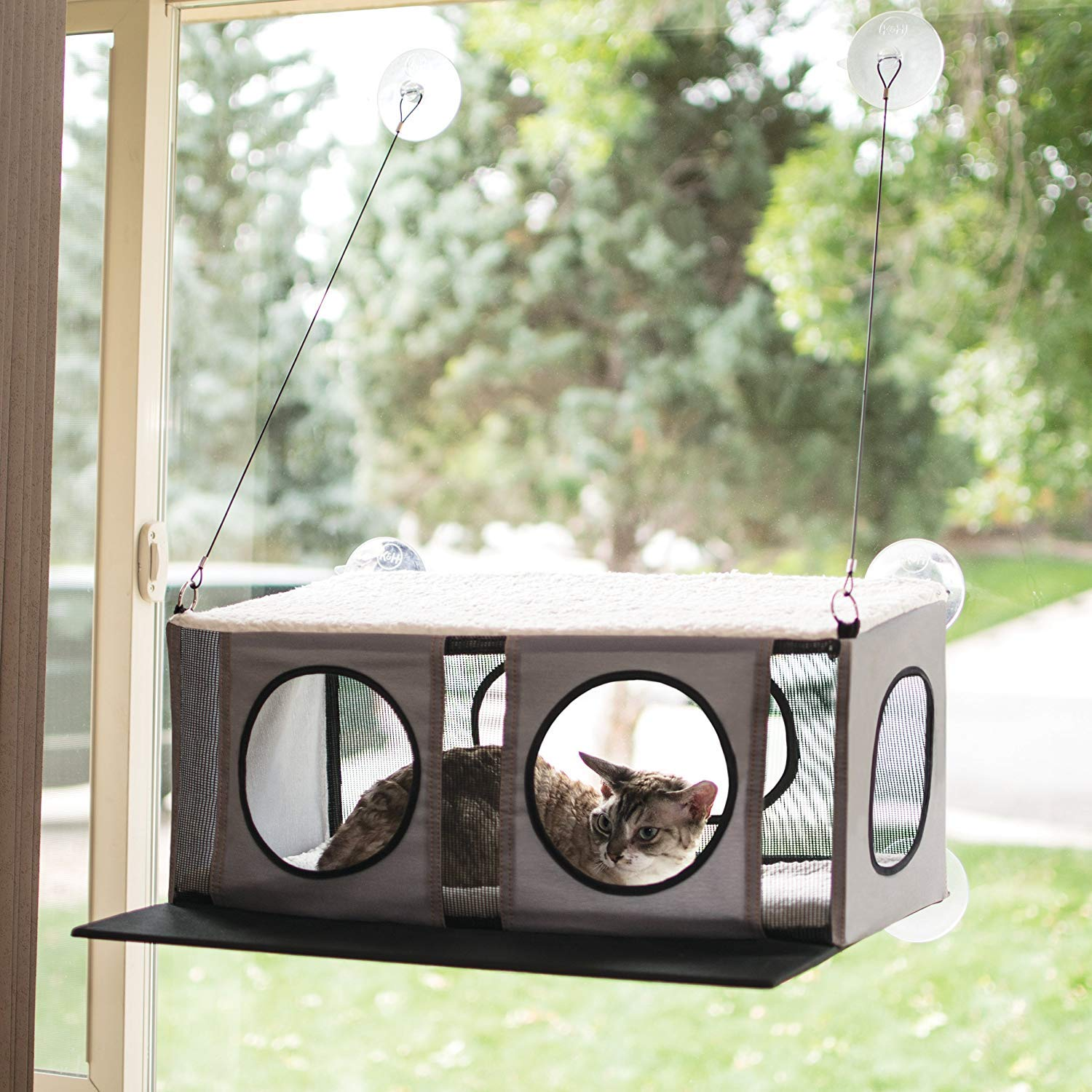 K&H PET PRODUCTS EZ Mount Penthouse Gray/Black 19'' x 23'' x 9.5'' Kitty Sill by K&H PET PRODUCTS