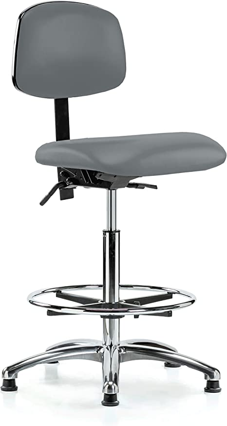 Perch Chrome Lab Chair With Adjustable Back Support And Foot Ring Stationary Caps Workbench Height Cinder Fabric Kitchen Dining