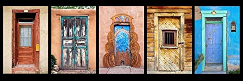 Panoramic photograph of a group of colorful blue Southwest Doors Size 12 x 36  inch panoramic photograph art decor living room