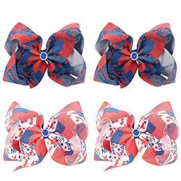 "White /& Blue 4th of July USA Flag CHEER BOW Huge Big 8/"" American patriotic Red"