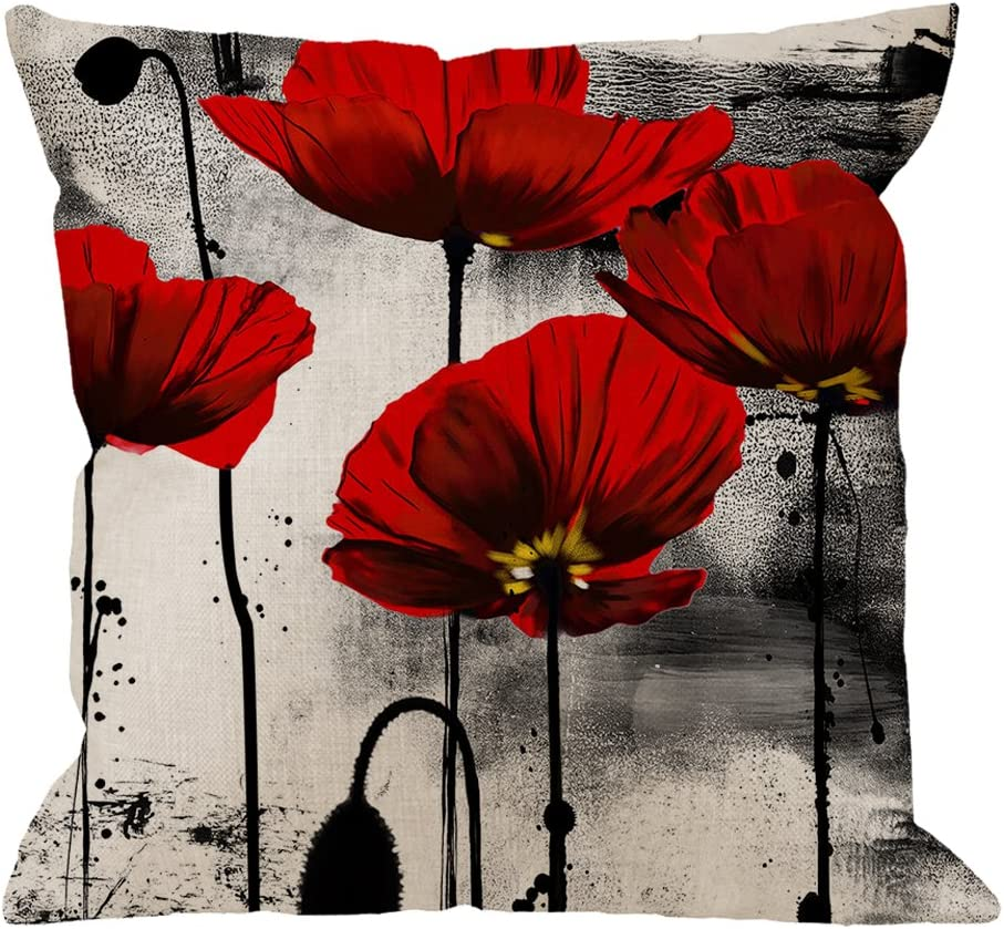 Hgod Designs Poppy Flower Pillow Case Vintage Red Poppy Flower Cotton Linen Cushion Cover Square Standard Home Ative For Men Women 18x18 Inch Black Red Home Kitchen