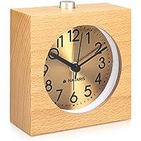 Navaris Despertador analógico - Reloj Cuadrado de Madera
