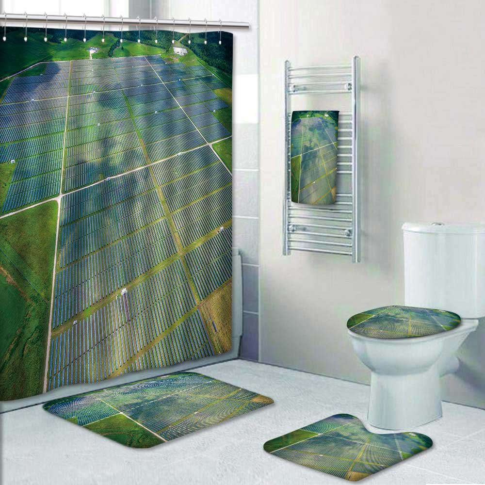 Nalahome 5-piece Bathroom Set-Includes Shower Curtain Liner, view over solar panel farm outside ustin texas Print Bathroom Rugs Shower Curtain/Bath Towls Sets(Small)