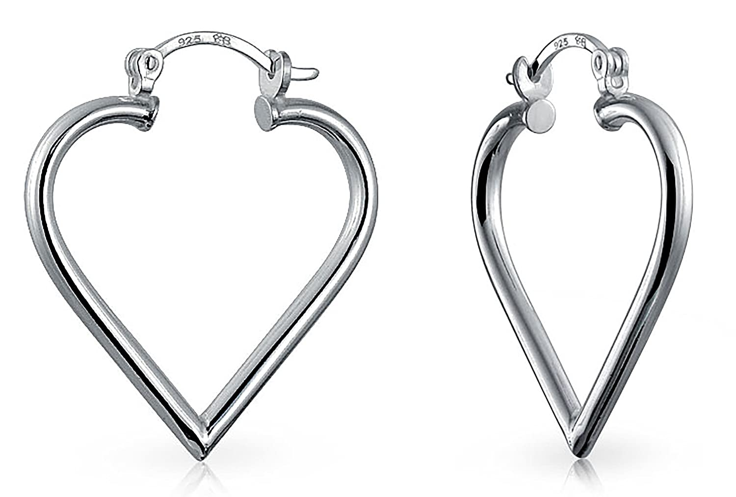 Open Top Heart Love Hoop Earrings Tubular 925 Sterling Silver Hinged Notched Post Bling Jewelry APPL-6S-75652