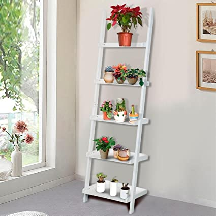 Yaheetech 5 Shelf Wood Leaning Ladder Bookshelf Bookcase Plant Stand Display Rack Unit White