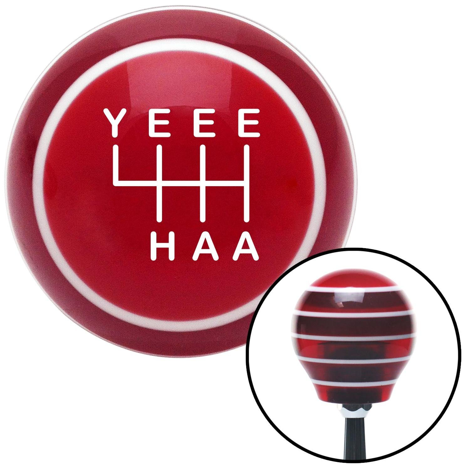 White YeeeHaa 6 Speed Red Stripe with M16 x 1.5 Insert American Shifter 301831 Shift Knob