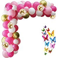 Hot Pink Balloons - 132pcs Pink Balloon Garland Kit with Colorful Butterflies, Pink Balloons Light Pink and White…