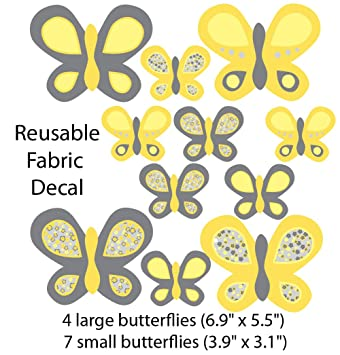 Amazon.com: Yellow And Gray Butterfly Wall Decals For Kids Room, Large  Butterflies: Baby