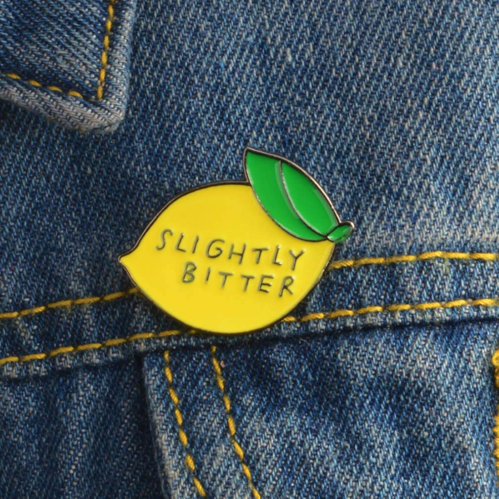 ROSTIVO Lemon Enamel Pins for Backpacks Fruit Lapel Brooch Pin for Women Men Boys Girls Pin for Clothing Hats