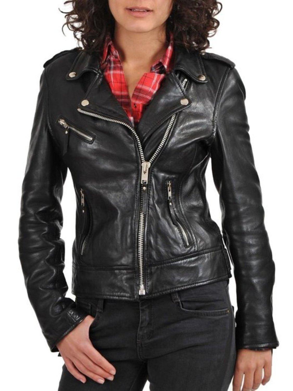 World Of Leather Women's Biker Moto Leather Jacket (S) by Leather World Ltd. (Image #2)