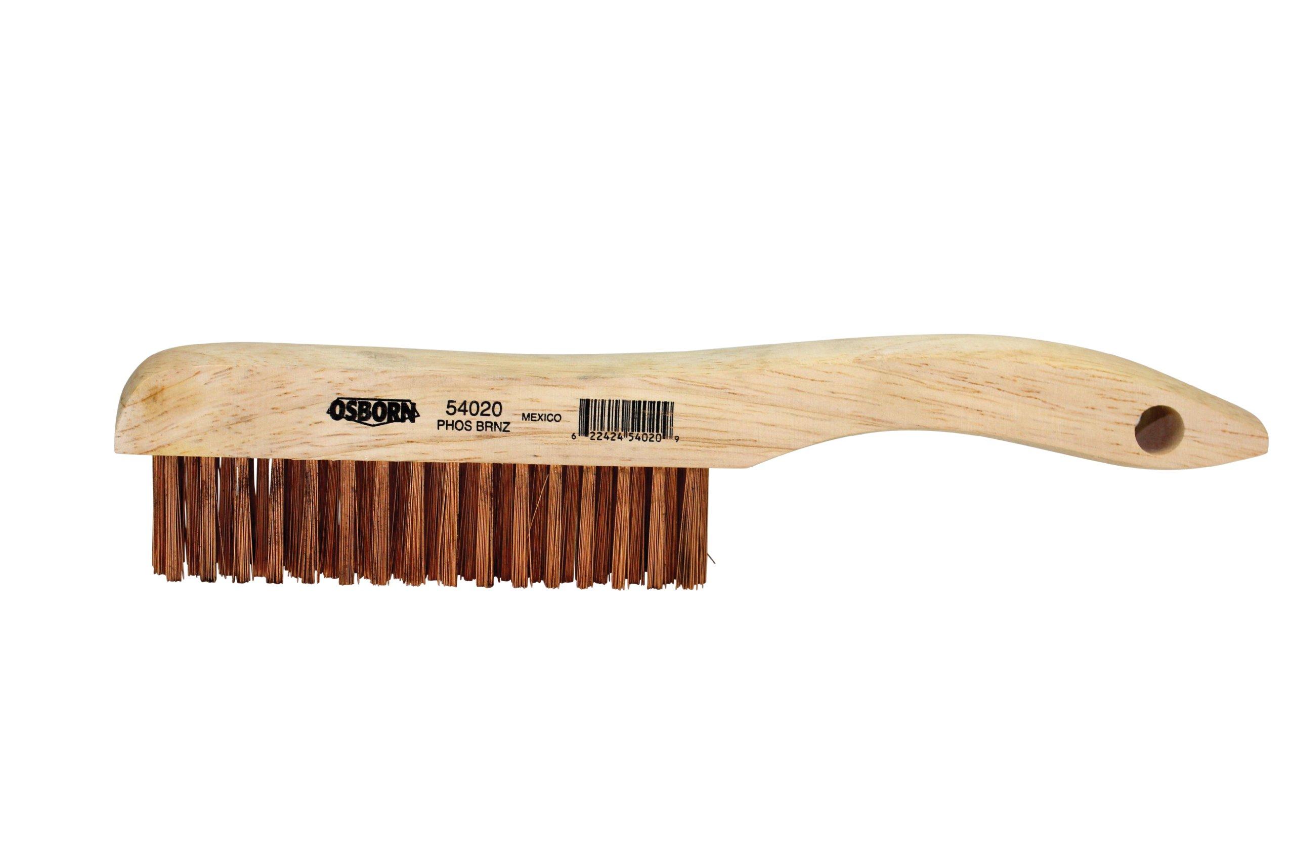 Osborn 54020 Shoe Handle Wire Scratch Brush, Phosphorous Bronze Bristle, 5-1/4'' Length, 1-1/8'' Block Width, 10'' Overall Length