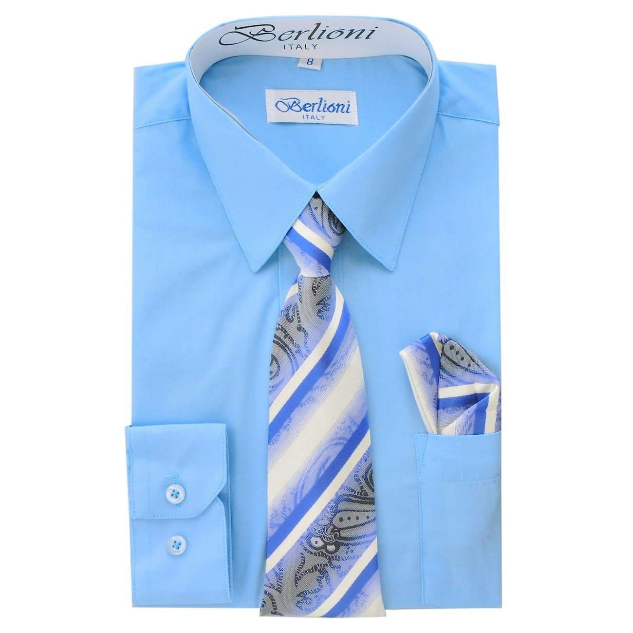 Boy's Dress Shirt, Necktie, and Hanky Set - Light Blue, Size 18 Boy' s Dress Shirt N-704