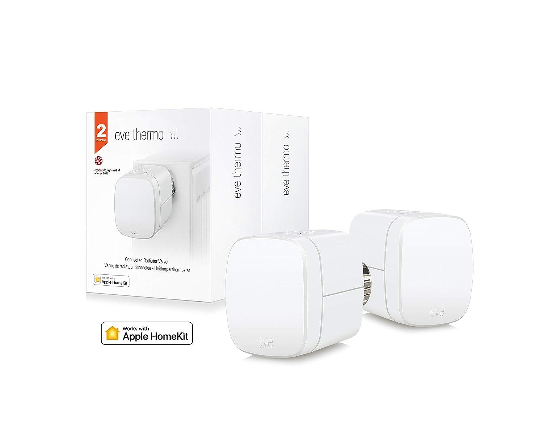 Eve Thermo (x2 Set) - Válvula termostática para radiador, controles táctiles integrados, pantalla LED, non occorrono bridge o gateway, blanco (Apple ...