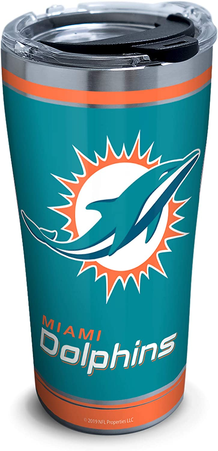 Tervis NFL Miami Dolphins - Touchdown Stainless Steel Insulated Tumbler with Clear and Black Hammer Lid, 20 oz, Silver