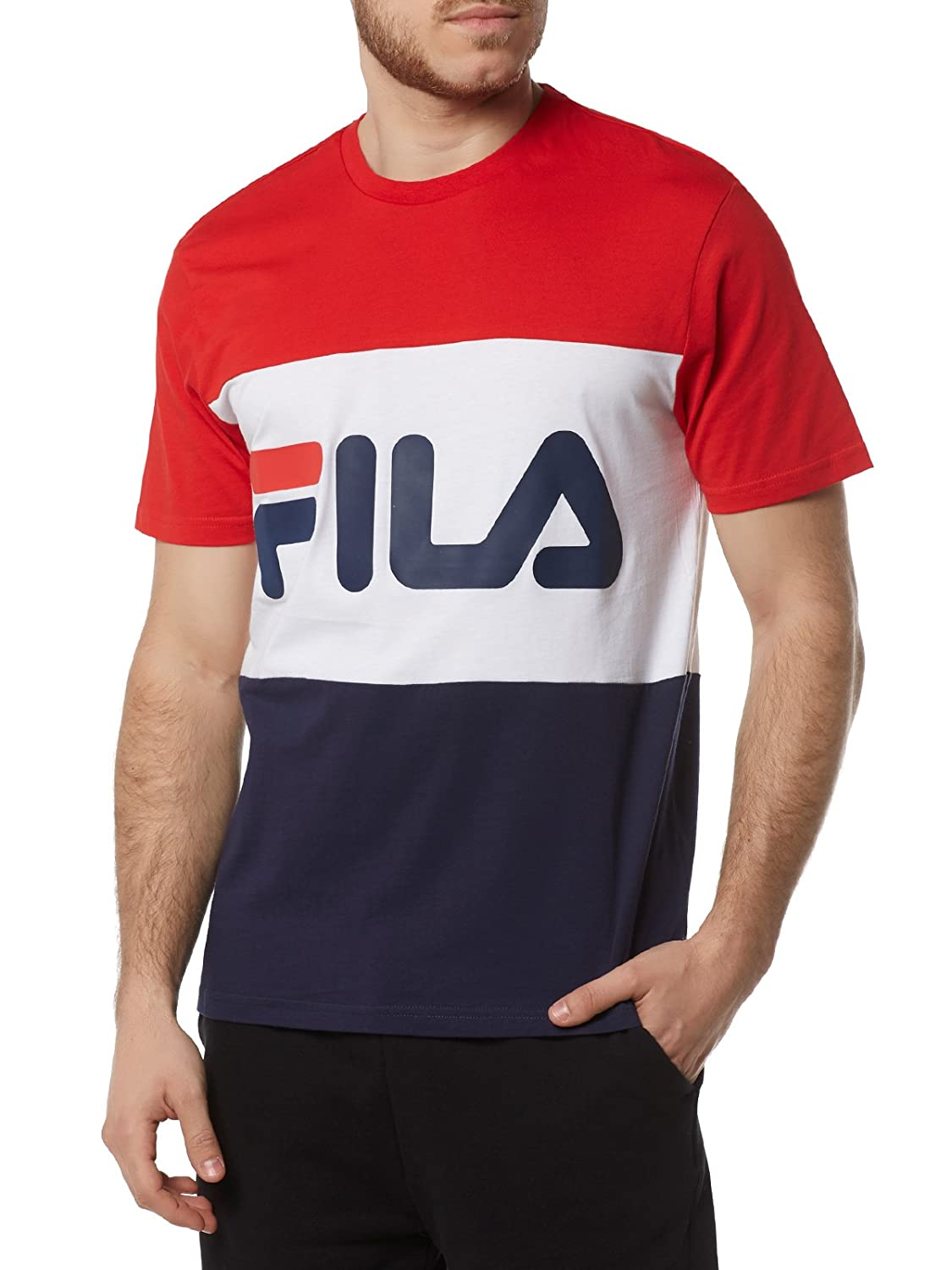 Fila Men T-Shirt Day, Größe:XL, Farbe:Peacoat/High Risk Red/Bright White