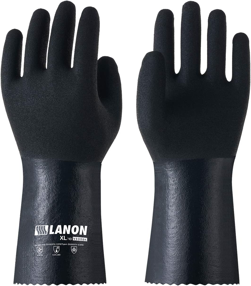 LANON Nitrile Chemical Resistant Gloves, Heavy Duty Work Gloves, Micro Foam Non-slip, Latex Free, Reusable, CAT III, Extra Extra Large
