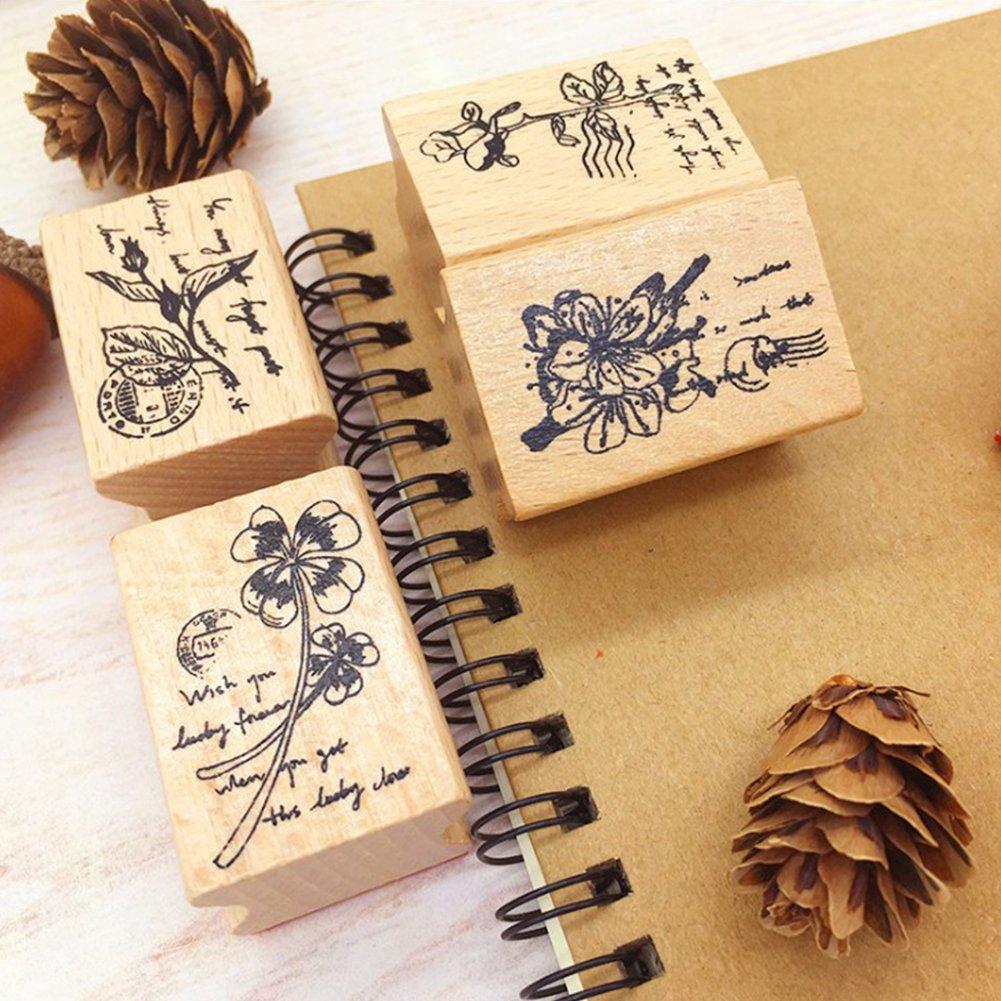 cancelleria fai da te wildflower bud per scrapbooking FairOnly Timbro in legno a tema fiori e piante