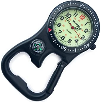Backpacker Belt Fob Watch Black Tone With Compass And Bottle Opener