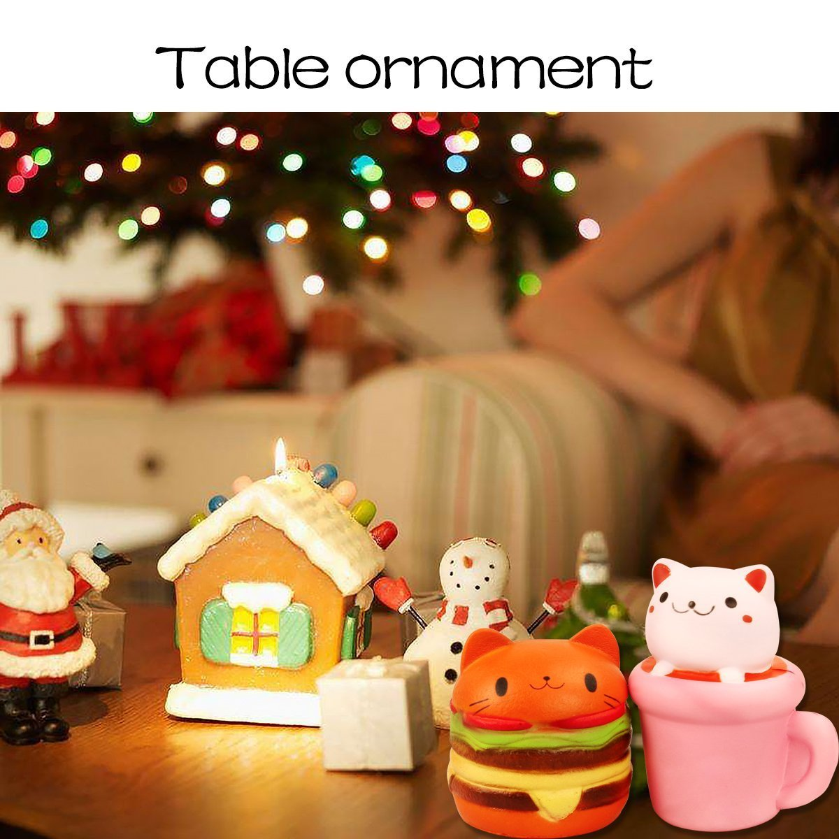 Slow Rising Toys Jumbo Squishies Cat Hamburgers Squishy and Cat Cup Squeeze Toy 2pcs Birthday Gift Stress Reliever Anxiety Toys Aszune