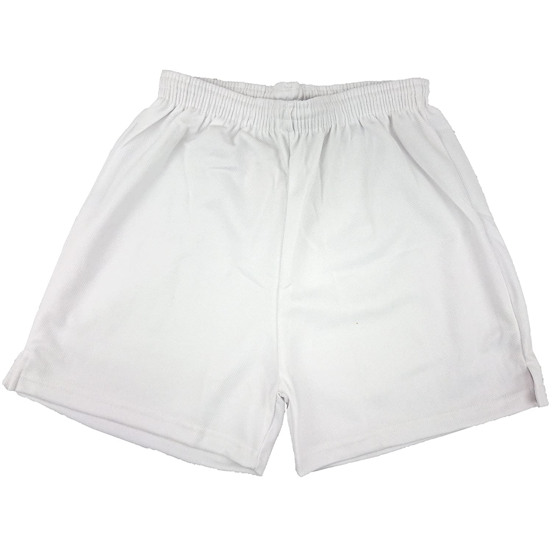 Mens Boys Girls Unisex Mesh Shorts Gym Shorts Sports Football Games PE Shorts School PE Shorts White